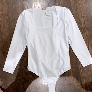 Free people white long sleeved body suit